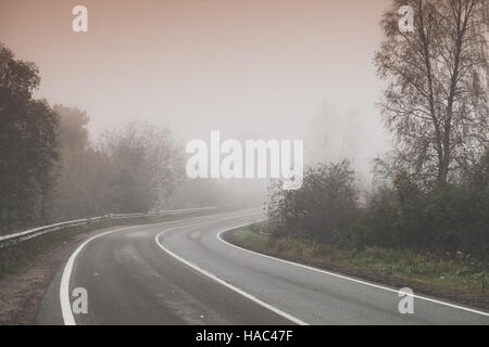 Rural foggy road background photo, turn on highway with trees on roadsides, stylized photo with warm tonal correction effect, old style filter