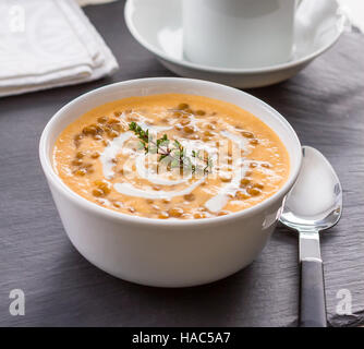 Homemade lentil and rice soup in a bowl - Stock Photo
