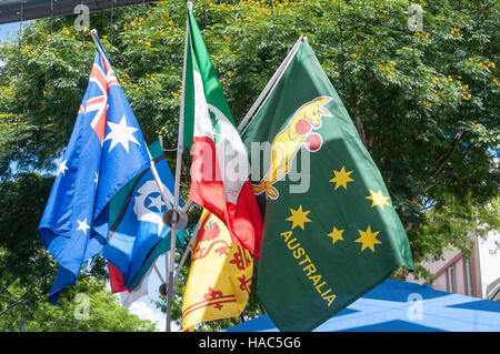 Australian and international flags on stall, Brunswick Street Mall, Fortitude Valley, Brisbane, Queensland, Australia - Stock Photo