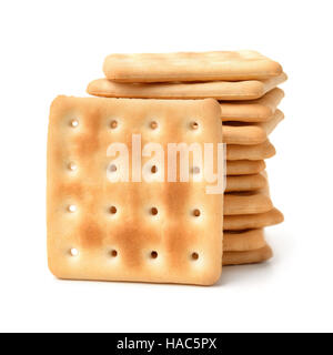Stack of  soda crackers isolated on white - Stock Photo