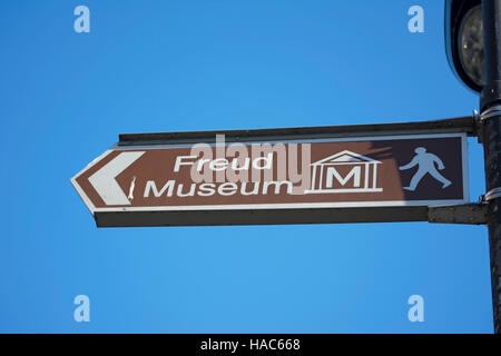 direction sign for the freud museum, hampstead, london, england - Stock Photo