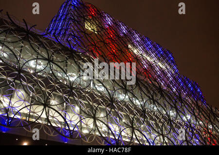 Birmingham Library lit in colours to remember the Birmingham 21, people killed in the Birmingham Pub Bombings 42 - Stock Photo