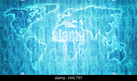 Honduras flag on blue digital world map with actual national borders - Stock Photo