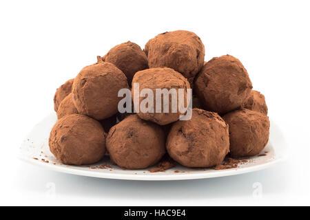 Chocolate Truffles on a White Background. - Stock Photo