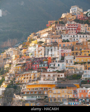 Buildings of Positano, Amalfi Coast, Salerno, Italy - Stock Photo