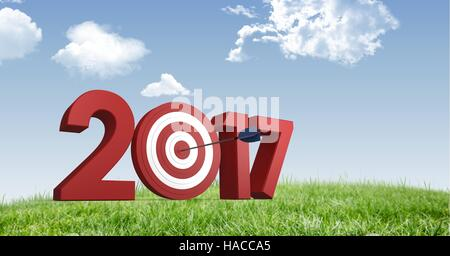 Darts target as 2017 against a composite image 3D of grasslands and sky - Stock Photo