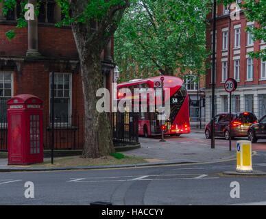 Route 38 bus on Rosebery Avenue, London, England - Stock Photo