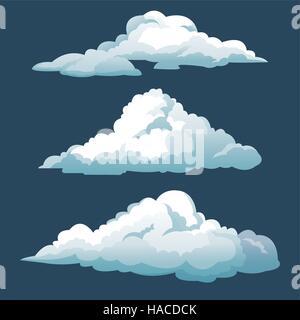 cartoon three blue sky clouds - Stock Photo