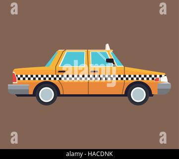 taxi car side view brown background - Stock Photo