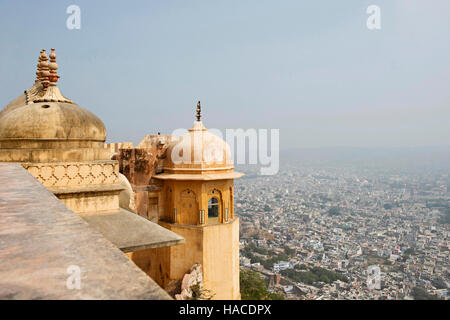 View of Jaipur city from Nahargarh, Rajasthan, India - Stock Photo