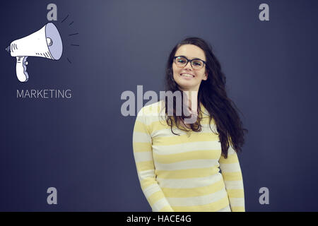 Pretty young woman in front of stock market graphs and symbols - Stock Photo