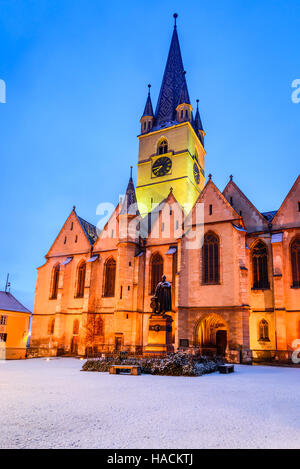 Sibiu, Romania. Evangelical Cathedral in the center of Sibiu, European Capital of Culture for the year 2007, Transylvania. - Stock Photo