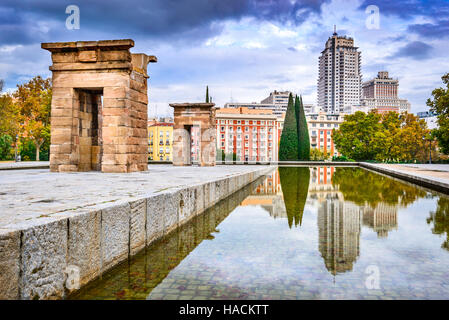 Madrid, Spain. Debod Temple, Egyptian gift from ancient history and Plaza Espana in background, Spanish capital - Stock Photo