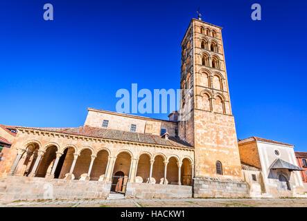 Segovia, Spain. Plaza San Esteban and the church, Castilla y Leon, Spanish medieval cathedral. - Stock Photo