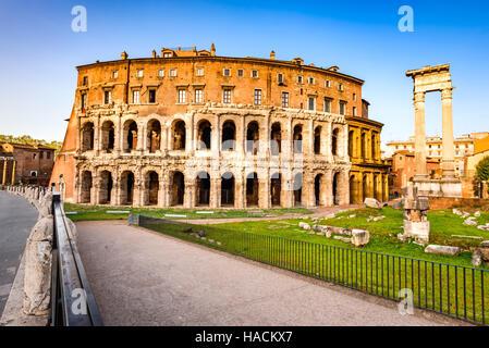 Rome, Italy. Morning  view to the Theatre of Marcellus (Italian: Teatro di Marcello) built in early Roman Republic. - Stock Photo