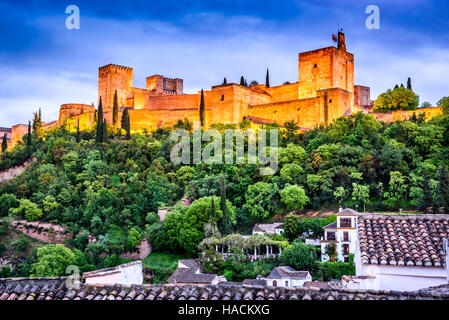 Granada, Spain. Night View of famous Alhambra with Alcazaba, European travel landmark in Andalusia. - Stock Photo