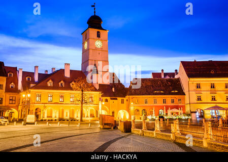 Sibiu, Romania. Twilight image of Council Tower in Small Square, Transylvania. - Stock Photo