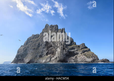 Ball's Pyramid, a 562 metres (1,844 ft) high ancient volcano, lies 20km from Lord Howe Island, New South Wales, - Stock Photo