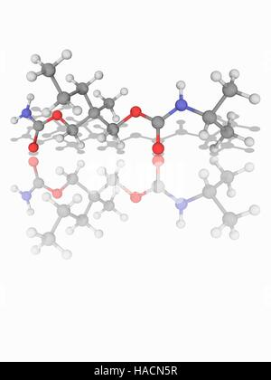 Carisoprodol. Molecular model of the muscle relaxant drug carisoprodol (C12.H24.N2.O4) used to treat muscle spasms - Stock Photo
