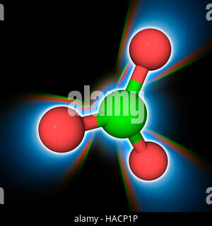Chlorate ion. Molecular model of the chlorate anion (Cl.O3-). This is a powerful oxidizer and will readily combust - Stock Photo