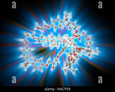 Epoxy resin polymer. Molecular model of several linked subunits of the polymer epoxy resin, also known as polyepoxide. - Stock Photo