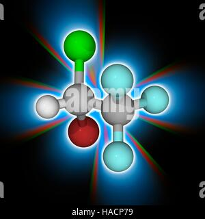Halothane. Molecular model of the anaesthetic drug halothane (C2.H.Br.Cl.F3). This general anaesthetic is delivered - Stock Photo