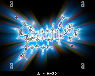 Pancuronium bromide. Molecular model of the muscle relaxant drug pancuronium bromide (C35.H60.N2.O4.Br2). This is - Stock Photo