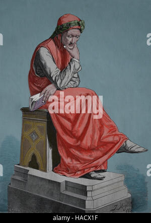 Dante Alighieri (1265-1321). Italian poet of the Late Middle Ages. Portrait. Engraving, 19th. Color. - Stock Photo