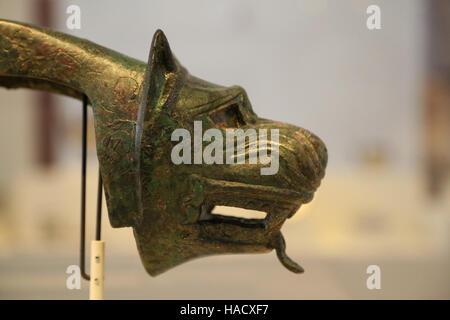 Yoke appliques. Bronze. Iberian culture. 4th century BC. Mengibar, Jaen. National Archaeological Museum, Madrid. - Stock Photo