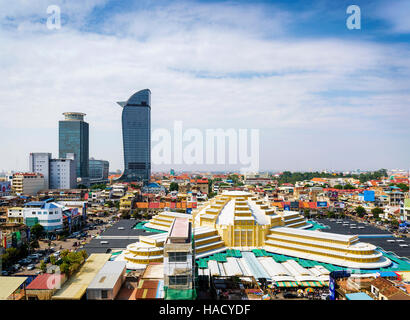central market landmark and skyscrapers view in phnom penh city cambodia - Stock Photo