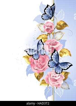 Design with pink, delicate roses, blue butterflies, gold and blue leaves on a light background. Design with roses. - Stock Photo