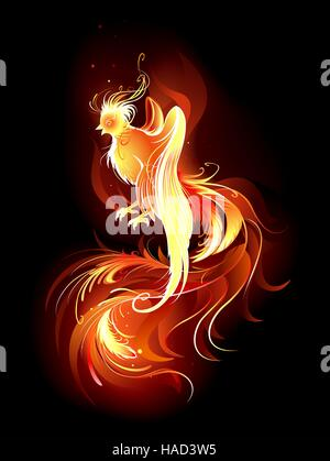 artistically painted, the fire bird with a long beautiful tail on a black background. - Stock Photo