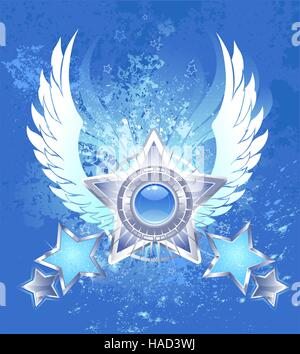 five five-pointed silver star with white stylized wings on a blue background shanked splashed blue paint - Stock Photo