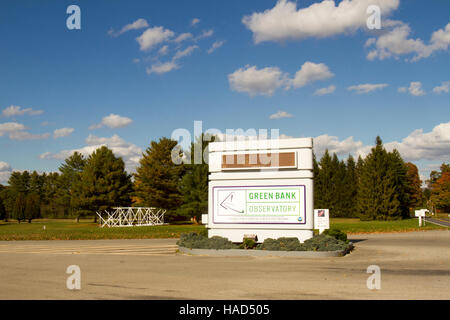 Green Bank, WV, USA - October 17, 2016 : Entrance sign to Green Bank Observatory, National Science Foundation facility, - Stock Photo