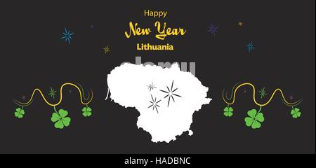Happy New Year illustration theme with map of Lithuania - Stock Photo
