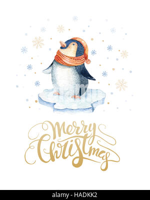 Merry Christmas lettering with watercolour fun pinguin. New year card. - Stock Photo