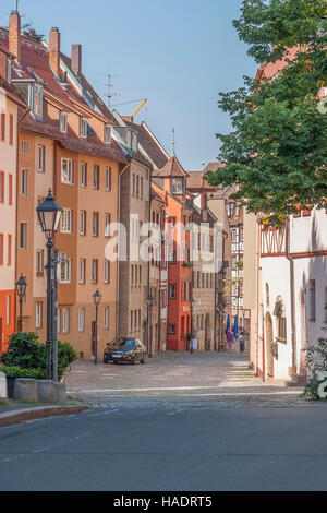 city view of Nuremberg, a city in Franconia in the german state of Bavaria - Stock Photo