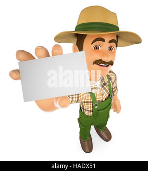 3d working people illustration. Gardener showing a blank card. Isolated white background. - Stock Photo