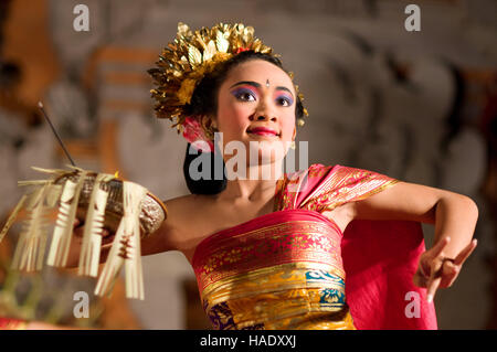 Dance called 'Legong Dance' at the Palace of Ubud. Ubud-Bali. Traditional balinese dance in Ubud. There are many - Stock Photo