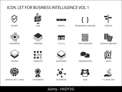 Business intelligence (BI) vector icon set - Stock Photo
