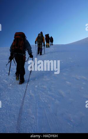 Mountaineers on Pisco mountain, 18897 ft / 5760 m, Peru, South America - Stock Photo