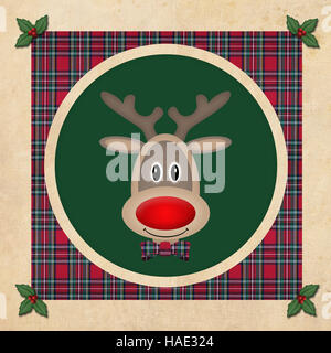 cute reindeer in green circle with red plaid pattern, on old paper background, christmas card design - Stock Photo