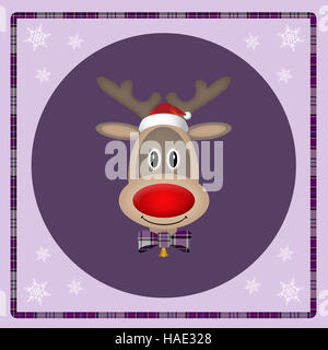 cute reindeer with santa hat on purple background, christmas card design - Stock Photo
