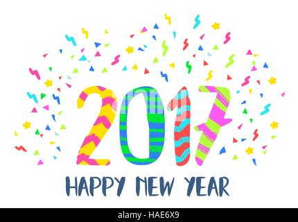 Happy New Year 2017 illustration, hand drawn vibrant color lettering design with fun party confetti background. - Stock Photo