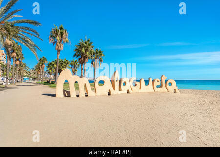 Malagueta beach in Malaga. Andalusia, Spain - Stock Photo