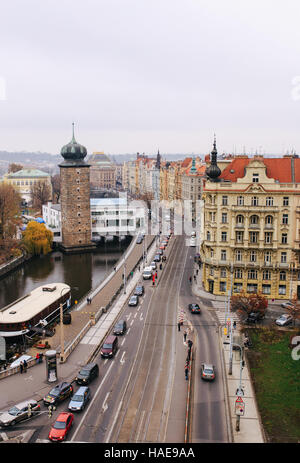 View on the city from the top floor of Dancing house in Prague Stock Photo