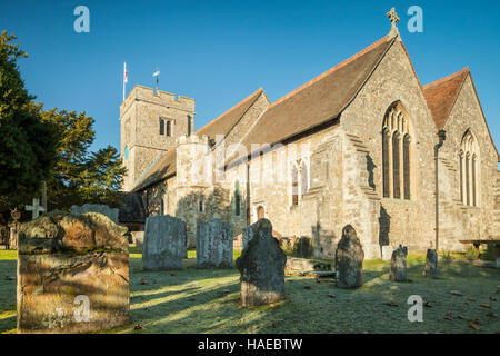 Autumn morning at St Peter & Paul church in Aylesford, Kent, England. - Stock Photo