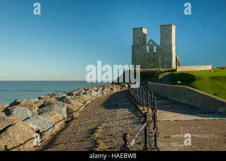 Autumn morning at the ruins of Reculver Abbey, Kent, England. - Stock Photo
