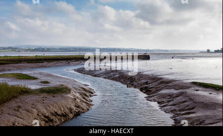 River Exe Estuary channel near Topsham, Devon, UK - Stock Photo