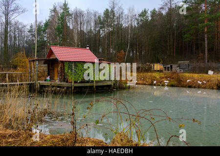 A Log Cabin On A Small Lake Stock Photo 68739373 Alamy